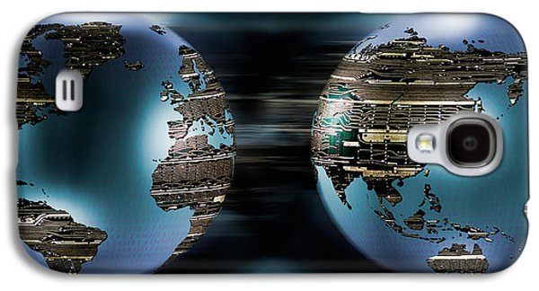 Cyberspace Galaxy S4 Cases - Two Sides Of Earths Made Of Digital Galaxy S4 Case by Panoramic Images