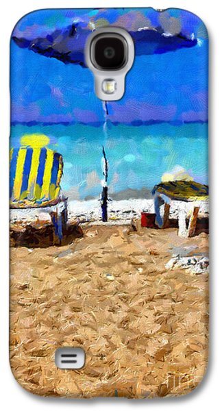 Empty Chairs Paintings Galaxy S4 Cases - Two sun-chairs and umbrella painting Galaxy S4 Case by Magomed Magomedagaev