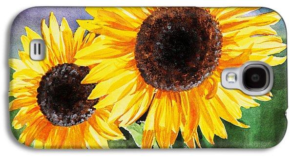 Sunflower Paintings Galaxy S4 Cases - Two Sunflowers Galaxy S4 Case by Irina Sztukowski
