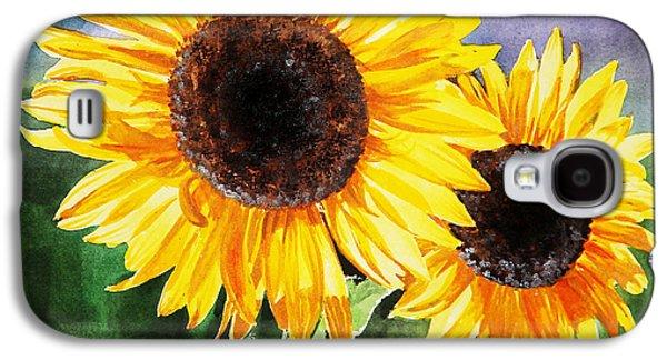 Sunflower Paintings Galaxy S4 Cases - Two Suns Galaxy S4 Case by Irina Sztukowski