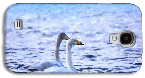 White River Scene Photographs Galaxy S4 Cases - Two swans swimming Galaxy S4 Case by Toppart Sweden