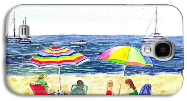 California Beaches Galaxy S4 Cases - Two Umbrellas On The Beach California  Galaxy S4 Case by Irina Sztukowski