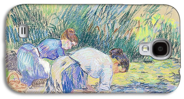 Girl Pastels Galaxy S4 Cases - Two Washerwomen Galaxy S4 Case by Jean Baptiste Armand Guillaumin