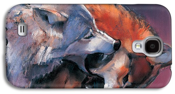 Biting Galaxy S4 Cases - Two Wolves Galaxy S4 Case by Mark Adlington