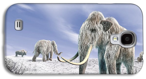 Bison Digital Galaxy S4 Cases - Two Woolly Mammoths In A Snow Covered Galaxy S4 Case by Leonello Calvetti