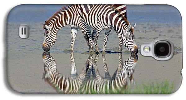 Animal Themes Galaxy S4 Cases - Two Zebras Drinking Water From A Lake Galaxy S4 Case by Panoramic Images