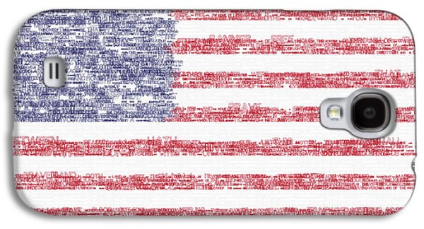 Waving Flag Mixed Media Galaxy S4 Cases - Star Spangled Banner Typography US Flag Galaxy S4 Case by Celestial Images