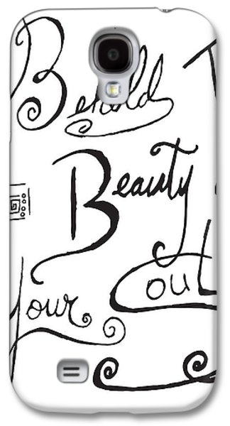 Joyful Drawings Galaxy S4 Cases - Typography Black and White Word Art Unique and Whimsical Drawing by Megan Duncanson Galaxy S4 Case by Megan Duncanson