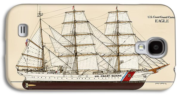 Tall Ship Galaxy S4 Cases - U. S. Coast Guard Cutter Eagle - Color Galaxy S4 Case by Jerry McElroy - Public Domain Image