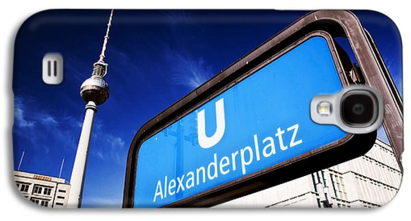 Bahn Galaxy S4 Cases - Ubahn Alexanderplatz sign and Television tower Berlin Germany Galaxy S4 Case by Michal Bednarek