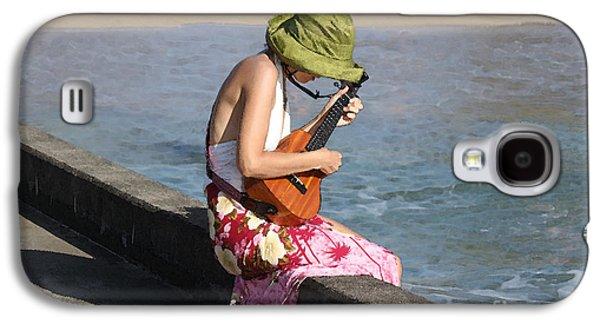 Ukelele Galaxy S4 Cases - Ukulele Lady at Hanalei Bay Galaxy S4 Case by Catherine Sherman