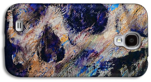 Drips Paintings Galaxy S4 Cases - Ultraviolet Skull Galaxy S4 Case by Michael Creese