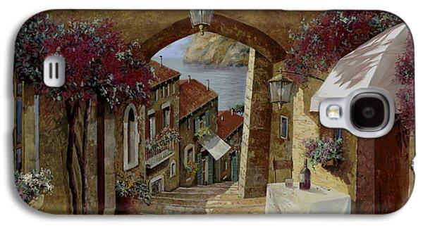 Wine Glass Paintings Galaxy S4 Cases - Un Bicchiere Sotto Il Lampione Galaxy S4 Case by Guido Borelli
