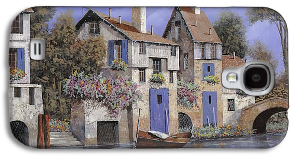 Stones Paintings Galaxy S4 Cases - Un Borgo Tutto Blu Galaxy S4 Case by Guido Borelli