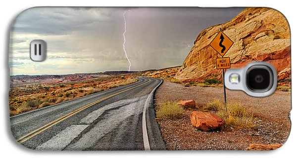 Uncertainty - Lightning Striking During A Storm In The Valley Of Fire State Park In Nevada. Galaxy S4 Case by Jamie Pham
