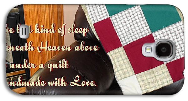 Block Quilts Tapestries - Textiles Galaxy S4 Cases - Under a Quilt Handmade with Love Galaxy S4 Case by Barbara Griffin