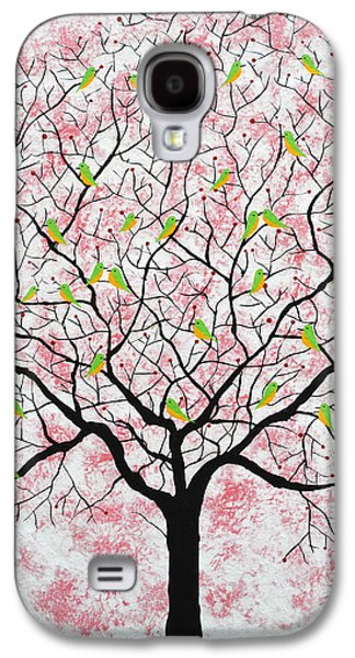 Flock Of Birds Paintings Galaxy S4 Cases - Under the pink sky Galaxy S4 Case by Sumit Mehndiratta