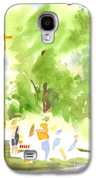 Harvest Time Galaxy S4 Cases - Under the Shade Trees Farmers Market IV Galaxy S4 Case by Kip DeVore