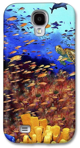 Shark Paintings Galaxy S4 Cases - Underwater Wonderland Galaxy S4 Case by David Wagner
