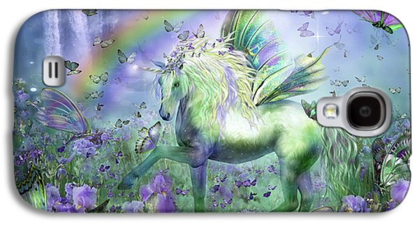 Print Mixed Media Galaxy S4 Cases - Unicorn Of The Butterflies Galaxy S4 Case by Carol Cavalaris