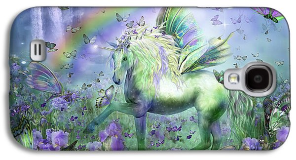 Rainbow Galaxy S4 Cases - Unicorn Of The Butterflies Galaxy S4 Case by Carol Cavalaris