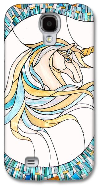 Print Glass Art Galaxy S4 Cases - Unicorn Galaxy S4 Case by Suzanne Tremblay