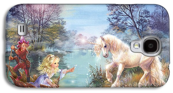 Paiting Galaxy S4 Cases - Unicorns Lake Galaxy S4 Case by Zorina Baldescu