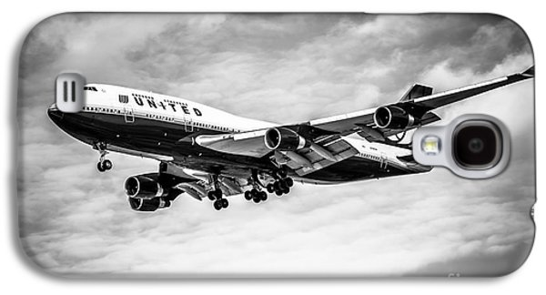 Gear Photographs Galaxy S4 Cases - United Airlines Airplane in Black and White Galaxy S4 Case by Paul Velgos