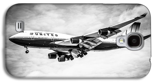 Airliner Galaxy S4 Cases - United Airlines Boeing 747 Airplane Black and White Galaxy S4 Case by Paul Velgos