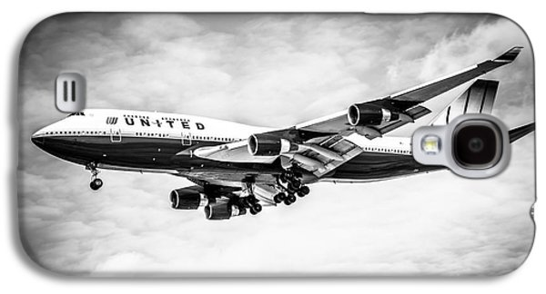 United Airlines Boeing 747 Airplane Black And White Galaxy S4 Case by Paul Velgos