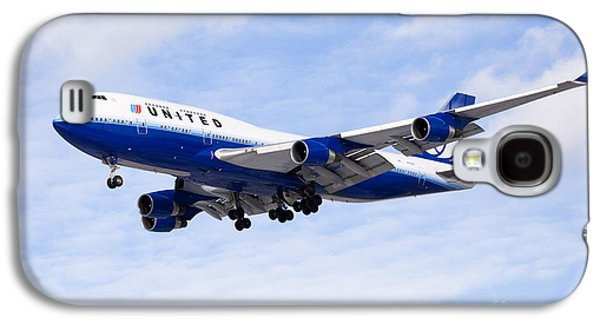 Airliner Galaxy S4 Cases - United Airlines Boeing 747 Airplane Flying Galaxy S4 Case by Paul Velgos