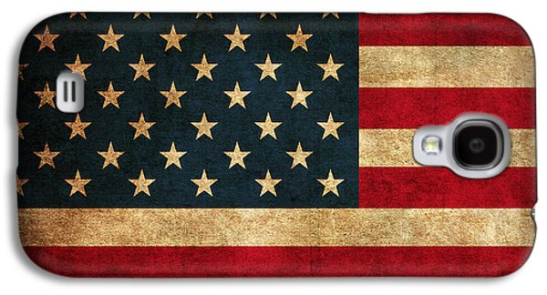 Usa Flag Mixed Media Galaxy S4 Cases - United States American USA Flag Vintage Distressed Finish on Worn Canvas Galaxy S4 Case by Design Turnpike
