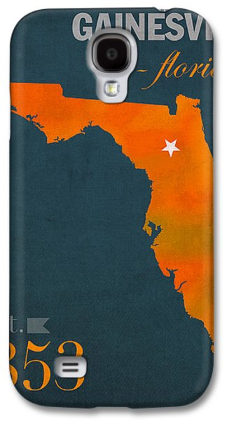 Universities Mixed Media Galaxy S4 Cases - University of Florida Gators Gainesville College Town Florida State Map Poster Series No 003 Galaxy S4 Case by Design Turnpike