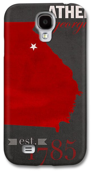 Universities Mixed Media Galaxy S4 Cases - University of Georgia Bulldogs Athens College Town State Map Poster Series No 040 Galaxy S4 Case by Design Turnpike