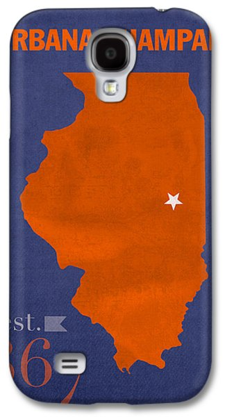 Universities Mixed Media Galaxy S4 Cases - University of Illinois Fighting Illini Urbana Champaign College Town State Map Poster Series No 047 Galaxy S4 Case by Design Turnpike