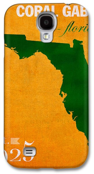 Universities Mixed Media Galaxy S4 Cases - University of Miami Hurricanes Coral Gables College Town Florida State Map Poster Series No 002 Galaxy S4 Case by Design Turnpike