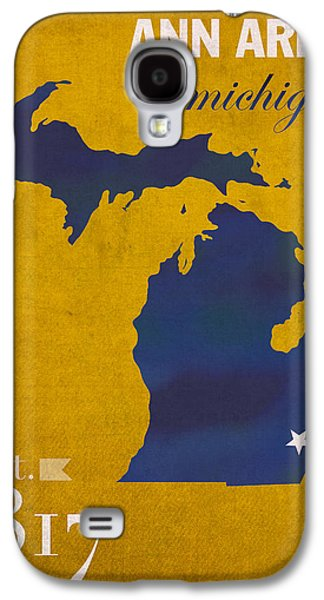 Universities Mixed Media Galaxy S4 Cases - University of Michigan Wolverines Ann Arbor College Town State Map Poster Series No 001 Galaxy S4 Case by Design Turnpike