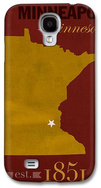 Universities Mixed Media Galaxy S4 Cases - University of Minnesota Golden Gophers Minneapolis College Town State Map Poster Series No 066 Galaxy S4 Case by Design Turnpike