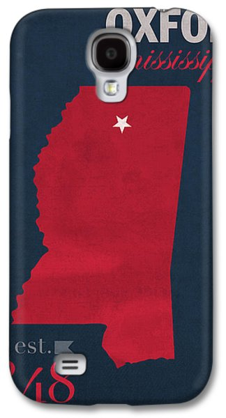 University Galaxy S4 Cases - University of Mississippi Ole Miss Rebels Oxford College Town State Map Poster Series No 067 Galaxy S4 Case by Design Turnpike