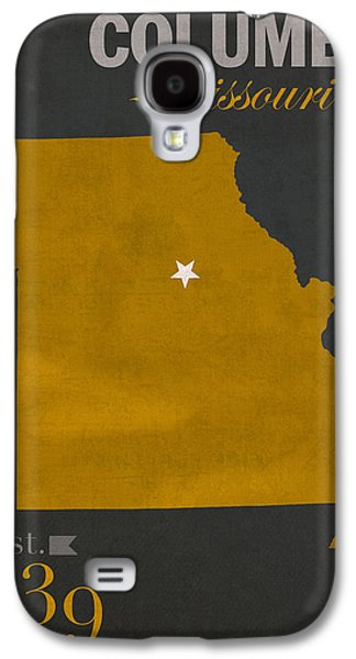 Universities Mixed Media Galaxy S4 Cases - University of Missouri Tigers Columbia Mizzou College Town State Map Poster Series No 069 Galaxy S4 Case by Design Turnpike