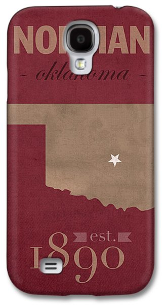 University Galaxy S4 Cases - University of Oklahoma Sooners Norman College Town State Map Poster Series No 083 Galaxy S4 Case by Design Turnpike
