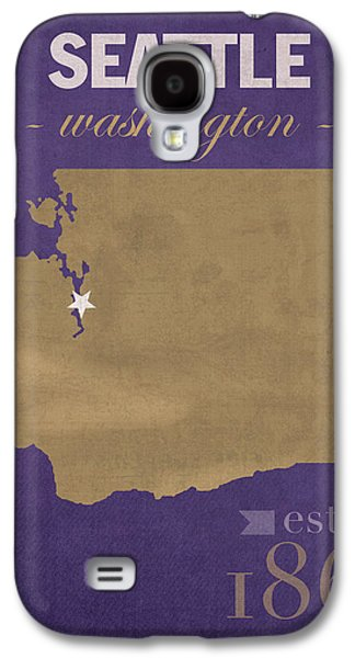 Husky Galaxy S4 Cases - University of Washington Huskies Seattle College Town State Map Poster Series No 122 Galaxy S4 Case by Design Turnpike