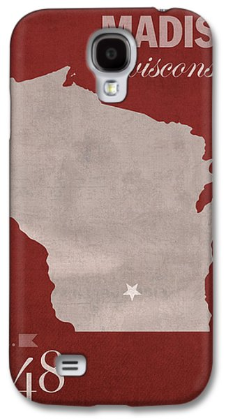 Madison Galaxy S4 Cases - University of Wisconsin Badgers Madison WI College Town State Map Poster Series No 127 Galaxy S4 Case by Design Turnpike