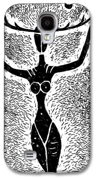 Linocut Paintings Galaxy S4 Cases - Unmasked Inner Goddess Galaxy S4 Case by e9Art
