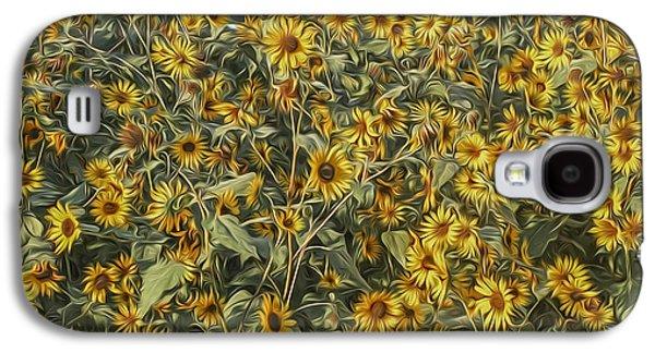 Jeff Swanson Galaxy S4 Cases - Untamed Sunflowers Galaxy S4 Case by Jeff Swanson