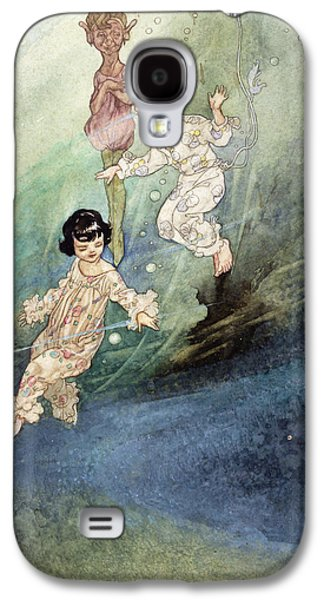 Fantasy Photographs Galaxy S4 Cases - Untitled Watercolour, Children Underwater With An Elf Galaxy S4 Case by Charles Robinson