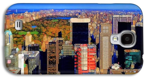 Skylines Mixed Media Galaxy S4 Cases - Urban Abstract New York City Skyline And Central Park Galaxy S4 Case by Dan Sproul
