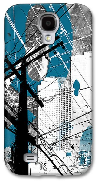 Abstract Digital Mixed Media Galaxy S4 Cases - Urban Grunge Blue Galaxy S4 Case by Melissa Smith