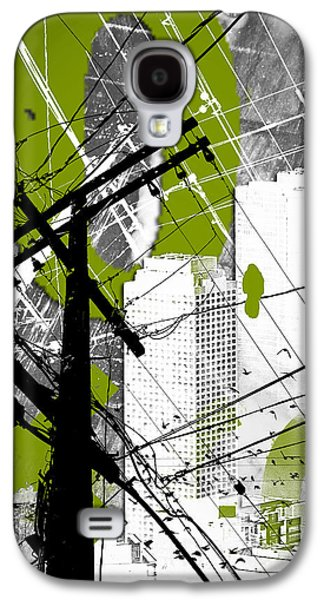 Abstract Digital Mixed Media Galaxy S4 Cases - Urban Grunge Green Galaxy S4 Case by Melissa Smith