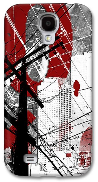 Abstract Digital Mixed Media Galaxy S4 Cases - Urban Grunge Red Galaxy S4 Case by Melissa Smith